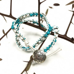 Turquoise & White Agate -...