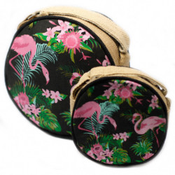 Eco Round Bags - Flamingos